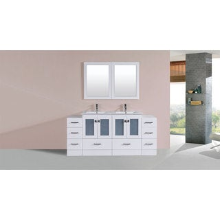 72-inch Hermosa White Double Modern Vanity with 2 Side Cabs and Int Sinks
