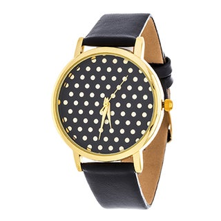 Fortune NYC Women's Gold Polka Dot  W/ Black Leather Strap Watch
