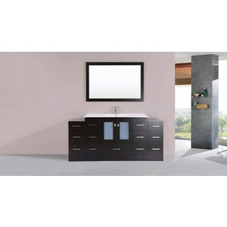 72-inch Hermosa Espresso Single Modern Vanity with 2 Side Cabs and Int Sink