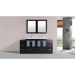 72-inch Hermosa Espresso Double Modern Vanity with 2 Side Cabs and Int Sinks