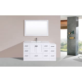 60-inch Redondo White Single Modern Vanity with Side Cab and Int Sink