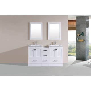 60-inch Redondo White Double Modern Vanity with Side Cab and Int Sinks