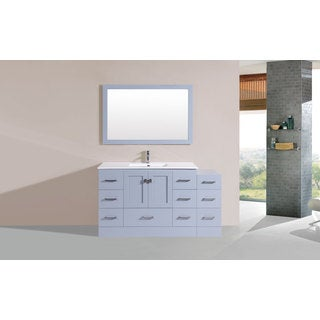 60-inch Redondo Grey Single Modern Vanity with Side Cab and Int Sink