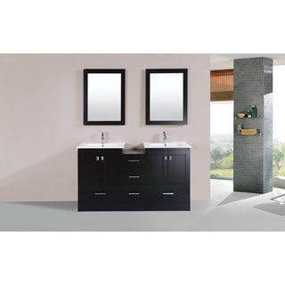 60-inch Redondo Espresso Double Modern Vanity with Side Cab and Int Sinks