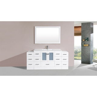 60-inch Hermosa White Double Modern Vanity with Side Cab and Int Sinks