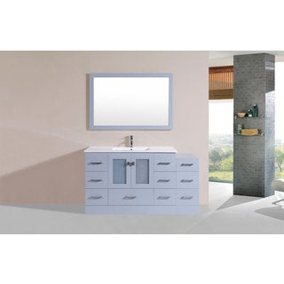 60-inch Hermosa Grey Single Modern Vanity with Side Cab and Int Sink