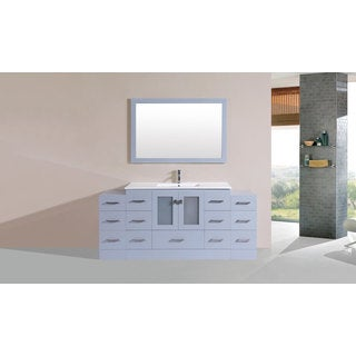 60-inch Hermosa Grey Double Modern Vanity with Side Cab and Int Sinks