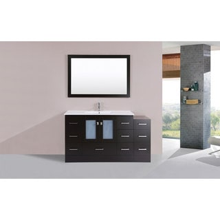 60-inch Hermosa Espresso Single Modern Vanity with Side Cab and Int Sink