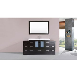 60-inch Hermosa Espresso Double Modern Vanity with Side Cab and Int Sinks