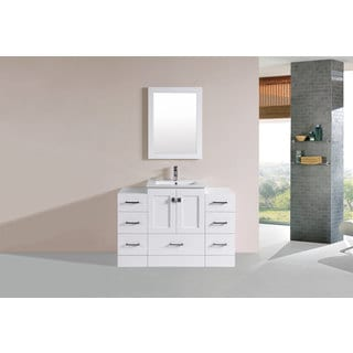 48-inch Redondo White Single Modern Vanity with 2 Side Cab and Int Sink