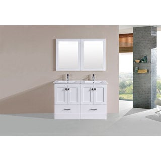 48-inch Redondo White Double Modern Vanity with Integrated Sinks