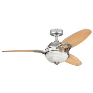 "Westinghouse 7877500 46"" Brushed Nickel Three Blade Indoor Ceiling Fan With Light"