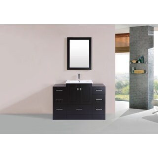 48-inch Redondo Espresso Single Modern Vanity with 2 Side Cab and Int Sink