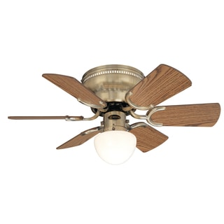 "Westinghouse 7860300 30"" Antique Brass Six Blade Single Light Ceiling Fan"