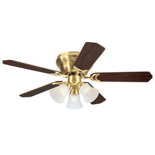 "Westinghouse 7850900 42"" Satin Brass Five Blade Indoor Ceiling Fan With Lights"