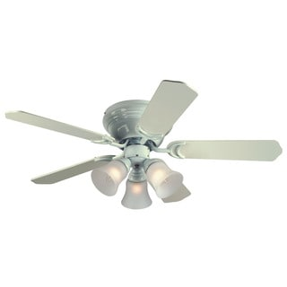 """Westinghouse 7850800 42"""" White Five Blade Reversible Ceiling Fan With Lights"""