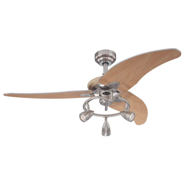 48 ceiling fan with light hamptons style havenside home virginia 48inch brushed nickel three blade ceiling fan with lights shop