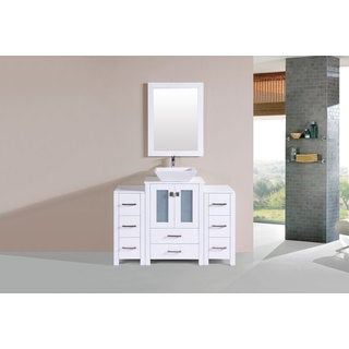 48-inch Newport White Single Modern Vanity with 2 Side Cab and Vessel Sink