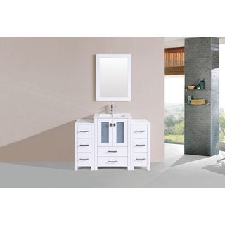 48-inch Newport White Single Modern Vanity with 2 Side Cab and Int Sink