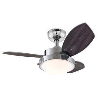"Westinghouse 7876300 30"" Chrome Three Blade Reversible Ceiling Fan With Light"