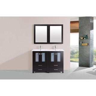 48-inch Newport Espresso Double Modern Vanity with Integrated Sinks