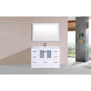 48-inch Hermosa White Single Modern Vanity with Integrated Sink