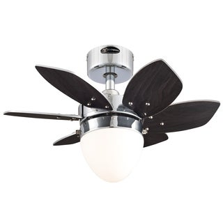 """Westinghouse 7864400 24"""" Chrome Six Blade Reversible Ceiling Fan With Light"""