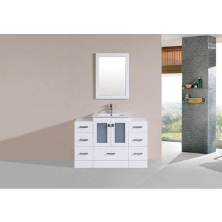 48-inch Hermosa White Single Modern Vanity with 2 Side Cab and Int Sink