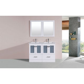 48-inch Hermosa White Double Modern Vanity with Integrated Sinks