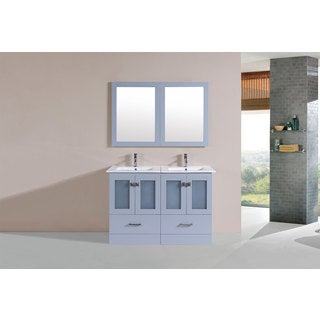 48-inch Hermosa Grey Double Modern Vanity with Integrated Sinks