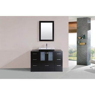 48-inch Hermosa Espresso Single Modern Vanity with 2 Side Cab and Int Sink