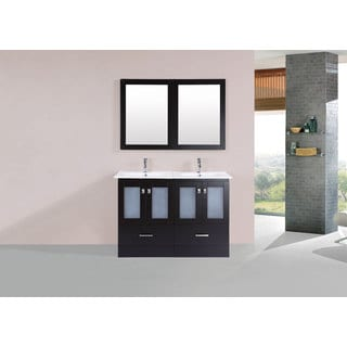 48-inch Hermosa Espresso Double Modern Vanity with Integrated Sinks