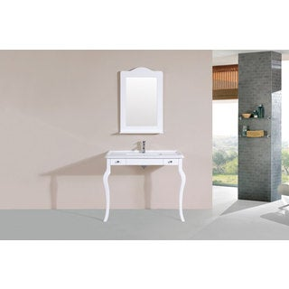 40-inch Marina White Single Traditional ADA Vanity with Integrated Sink