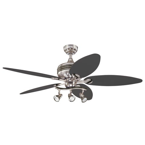 """Westinghouse 7234265 52"""" Graphite & Br Nickel 3 Light 5 Blade Xavier Ceiling Cont"""