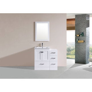 36-inch Redondo White Single Modern Vanity with Side Cabinet and Int Sink