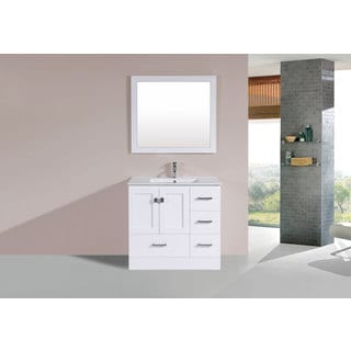 36-inch Redondo White Single Modern Vanity with Integrated Sink (Right)