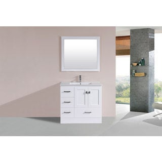 36-inch Redondo White Single Modern Vanity with Integrated Sink (Left)