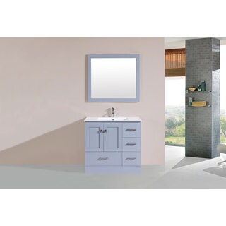 36-inch Redondo Grey Single Modern Vanity with Integrated Sink (Right)