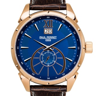 Paul Perret Utopia Men's Ronda 6004.B Movement Sapphire Sunray Satin Dial Genuine Leather Swiss Watch
