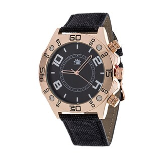 Zunammy Men's Rose Gold with Brown Leather Strap Watch