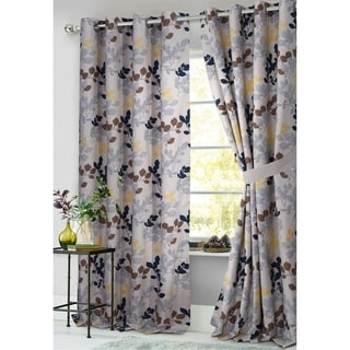 Tribeca Living Barcelona Lined Cotton Grommet Top Curtain Panel Pair with Tiebacks