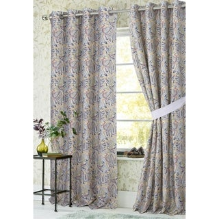Tribeca Living Fiji Lined Cotton Grommet Top Curtain Panel Pair with Tiebacks