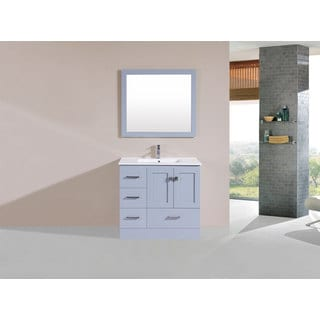 36-inch Redondo Grey Single Modern Vanity with Integrated Sink (Left)