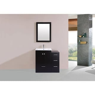 36-inch Redondo Espresso Single Modern Vanity with Side Cab and Int Sink