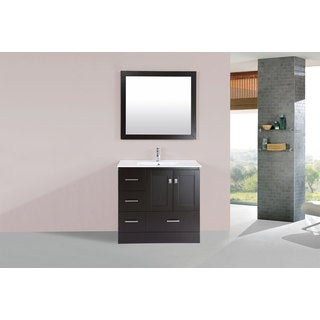 36-inch Redondo Espresso Single Modern Vanity with Integrated Sink (Left)