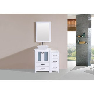 36-inch Newport White Single Modern Vanity with Side Cab and Vessel Sink