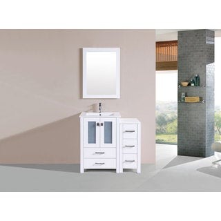 36-inch Newport White Single Modern Vanity with Side Cabinet and Int Sink