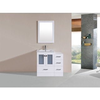 36-inch Hermosa White Single Modern Vanity with Side Cabinet and Int Sink