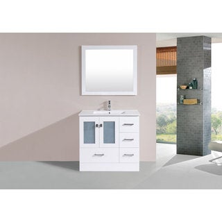 36-inch Hermosa White Single Modern Vanity with Integrated Sink (Right)
