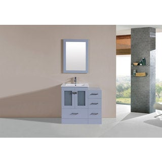 36-inch Hermosa Grey Single Modern Vanity with Side Cabinet and Int Sink